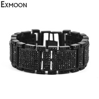 EX MOON Mens Punk Hiphop Wide Bracelets Party Jewelry Classic Full Crystal Rhinestone Cuff Bracelets Charm