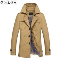 Korean Overcoat Khaki Black PLus size 3XL 4XL british style Slim fit trench coat long men Spring 2017 man Windbreaker Jackets
