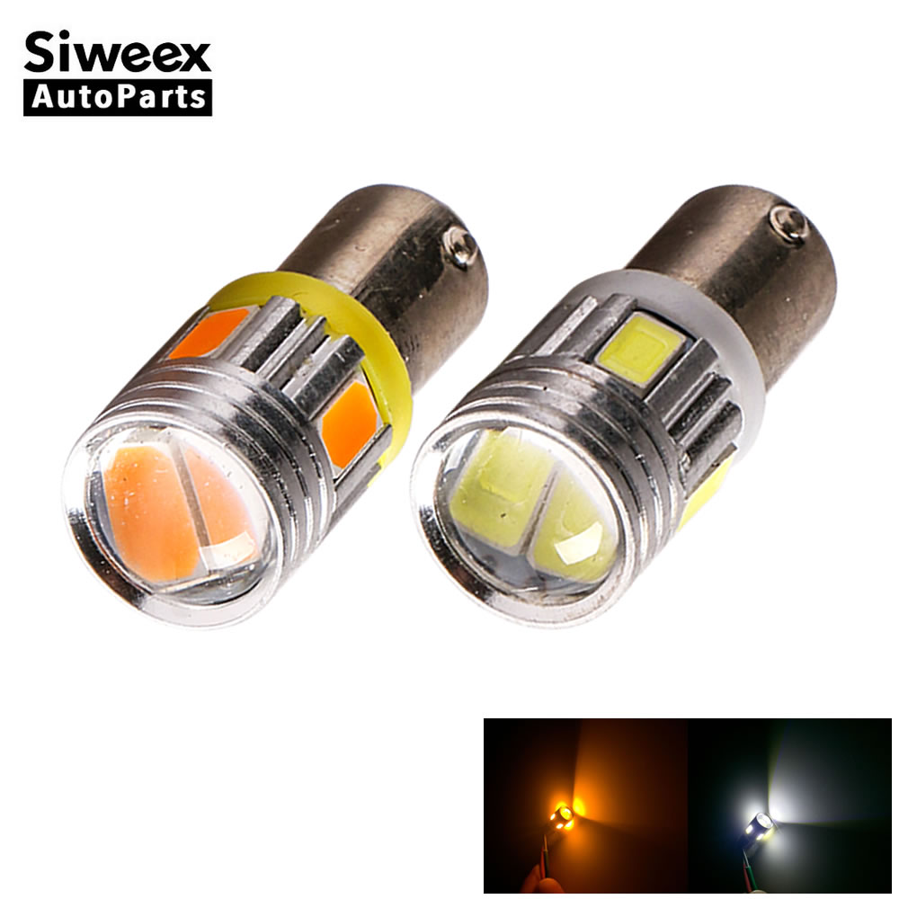 2 Pcs BA9S T4W 6 5730 SMD Car LED Bulbs Aluminum Alloy Lens License Plate Side Marker Lamp White/Yellow(Amber) Lights DC 12V sencart ba9s 3w 25lm 490nm 5730 smd led blue light car motorcycle lamp dc 12 16v 2pcs