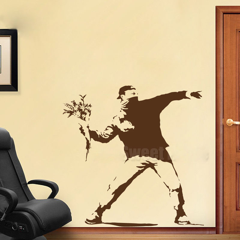 GY04 Banksy Thrower Graffiti Vinyl Wall Sticker Decals Rooms Home ...