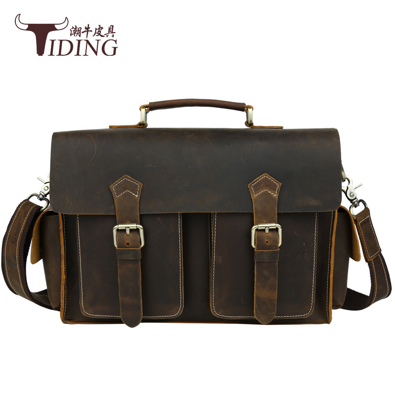 TIDING Luxury Genuine Crazy Horse Leather Men Handbag Cowhide Leather Briefcase Shoulder Bag Travel Business Retro Crossbody Bag joyir men briefcase real leather handbag crazy horse genuine leather male business retro messenger shoulder bag for men mandbag