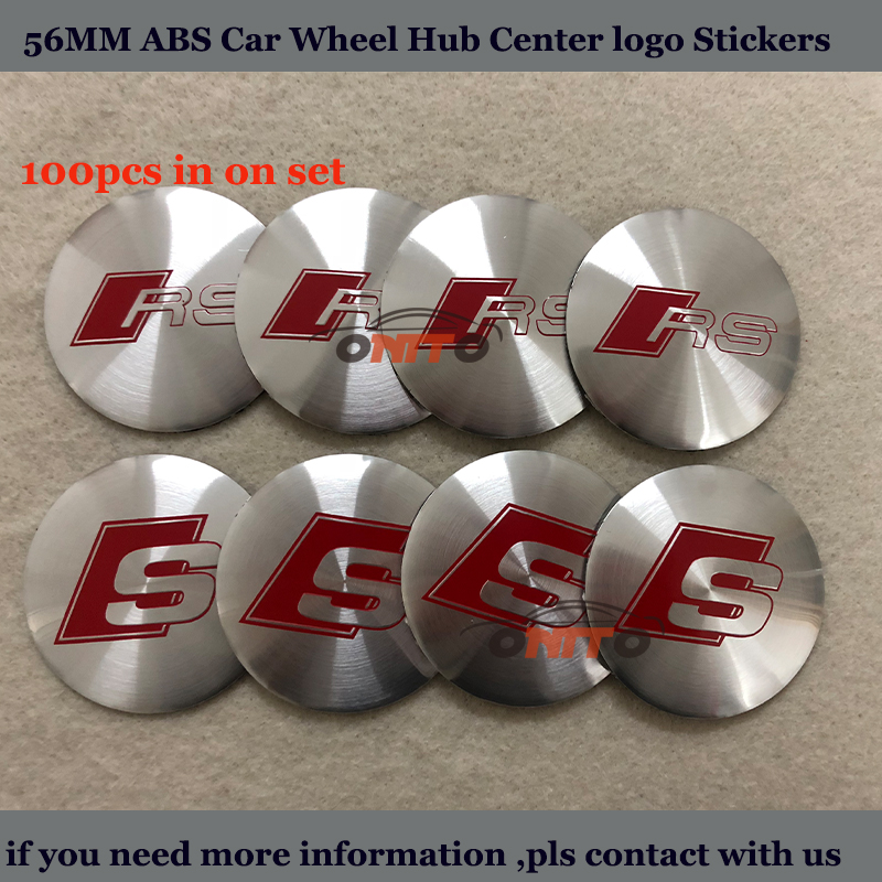 100PCS/SET 56mm For RS S Sline Logo Stickers Car Wheel hub Stickers For Audi A1 A2 A3 A4 A5 A6 A7 Car Badge Emblem Free Shipping