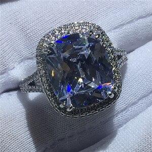 Image 4 - Choucong גדול יוקרה טבעת 925 סטרלינג כסף כרית לחתוך 8ct AAAAA זירקון cz אירוסין נישואים לתכשיטי נשים