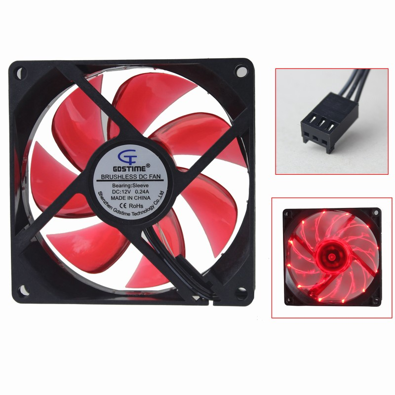 30 Pcs Gdstime Led Vermelho 3Pin 90mm Radiador Refrigerador de Ventoinha DC 12 V para Caixa Do Computador De Resfriamento