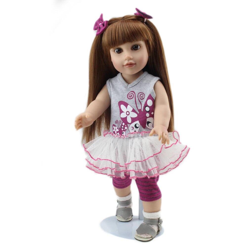 ФОТО Hot Sale 18inch American Doll Girls Super Soft Body Brown Long Straight Hair 45CM Newborning Real Simulation Dolls For Kid Gift
