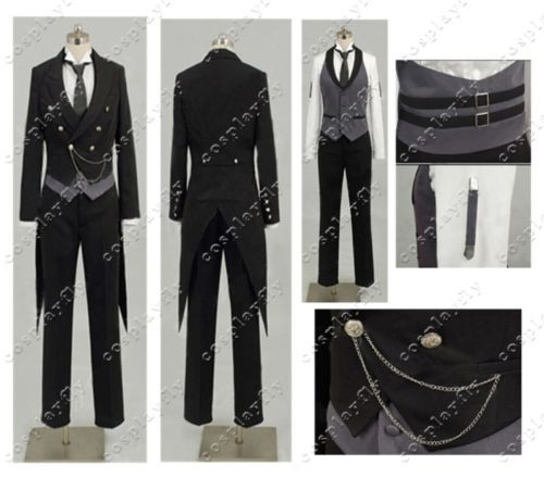 Hot Black Butler 2 Kuroshitsuji Sebastian Deacon Uniform Clothing Jacket Shirt Vest Pants Cosplay Costume (W0030)