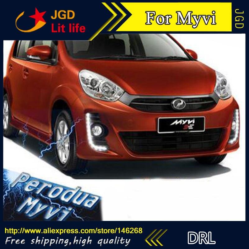Free shipping ! 12V 6000k LED DRL Daytime running light for Mazda Perodua Myvi 2011-2014 fog lamp frame Fog light free shipping   12v 6000k led drl