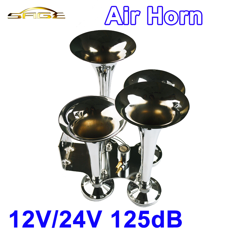 Chrome 12V-24V 125DB 4 Trumpet Air Horn Silver Snail Set Siren Horn Loud Sound For Train Vehicle Car Truck traditional squeeze bulb horn trumpet for bike