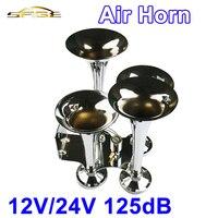 TEHOTECH Chrome 12V-24V 125DB 4 Trumpet Air Horn Silver Snail Set Siren Horn Loud Sound For Train Vehicle Car Truck