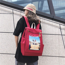 Preppy Women Vintage Canvas Shoulder bag Backpack Car Prints Teenager Girls Cartoon Travel Rucksack School Bags Mochila Feminina