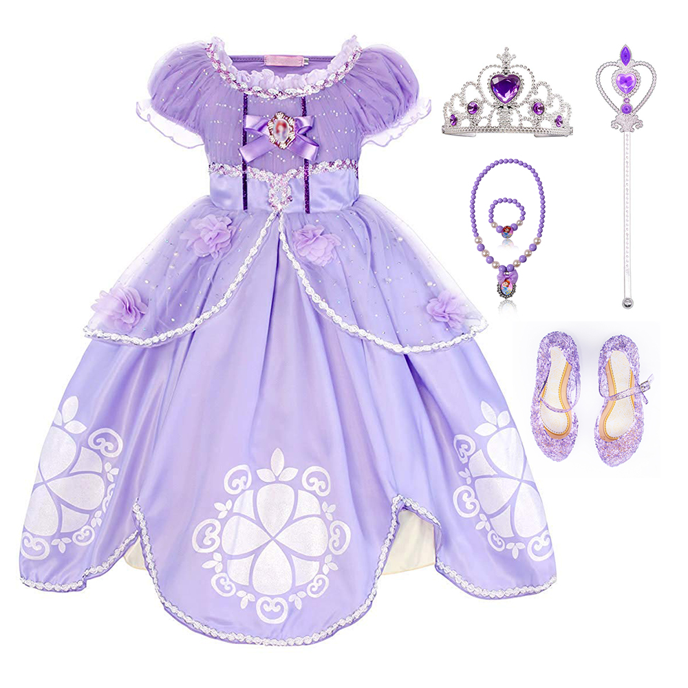 TEAEGG Girl Dress Kids Ruffles Lace Party Custome Dress Sofia the First Deluxe Costume Fancy Party Dress Outfit with Accessories