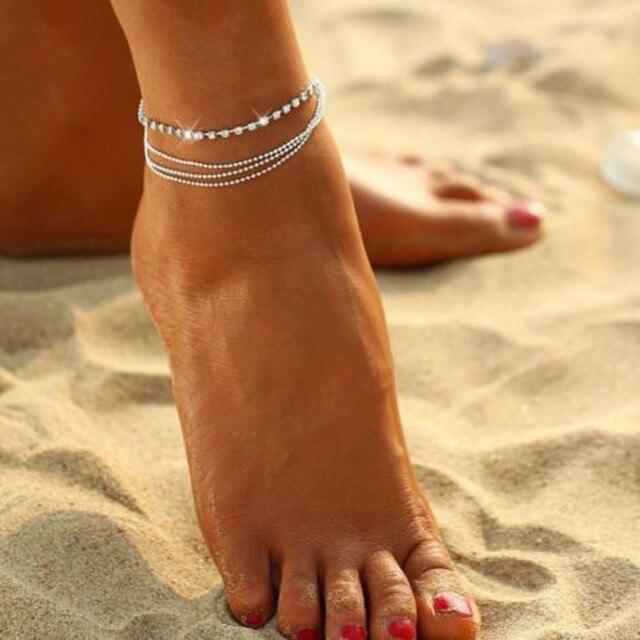 チャンドラービーズチェーンアンクレット足に足ブレスレット女性シンプルなスリム調整可能なワイヤー足首夏ビーチジュエリー卸売- ff
