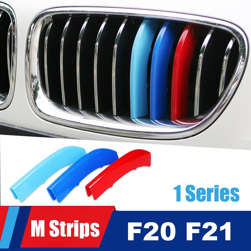 Para BMW série 1 F20 F21 Acessórios Auto Grade Dianteira Guarnição Grelha M Desempenho Do Esporte Listras Tiras Clipe Capa Adesivos