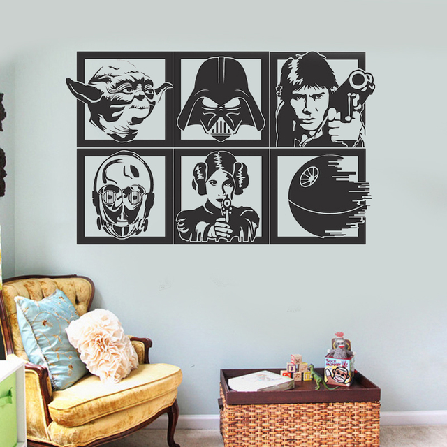 star wars character frame vinyl wall decal home decor living room