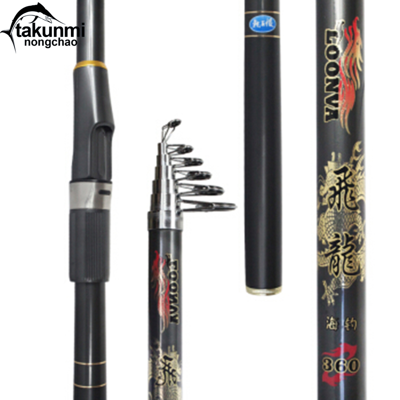 все цены на 99% Carbon Fiber 2.4-3.6M Super Hard Telescopic Fishing Rod Carbon Spinning Pole Sea Fishing Stick Colorful Ring в интернете