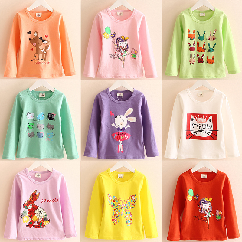 2018 Spring Autumn Children'S Clothing Lolita Style Long-Sleeve Solid Color Cartoon Animal Stripe Baby Kids Girl Basic T-Shirt simple style buttoned stand collar solid color long t shirt for women