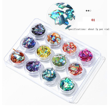 12pcs/set Natural Colorful Pearl Light Nail SeaShell Slices Particle Crushed Shell Manicure Set Thin Art Glitter Decoration