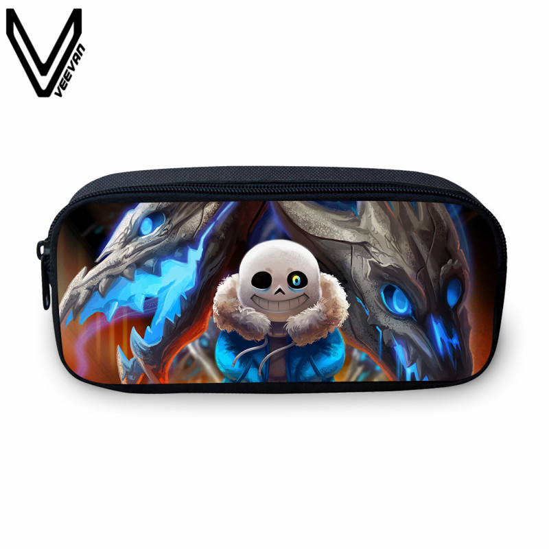 VEEVANV Anime Undertale Pencil Holder Women Make Up Bag Cartoon Pen Pouch For School Boys Girls Bags Children Cosmetic Cases  multifunction cosmetic cases women make up bag punk skull print kids boys pencil pen bag for school boys girls stationary holder