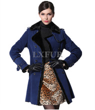 New Womens Genuine Double-faced Sheep leather Overcoat Fashion Long Coats with Belt Winter Turn-down Collar Parka LX00567