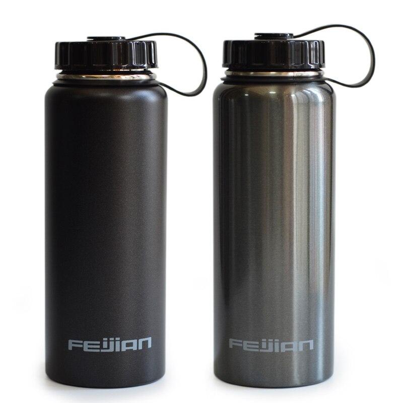 FEIJIAN Sports Water Bottle Stainless Steel Flask Wide Mouth Jar Leak proof Canteen with Neoprene Sleeve