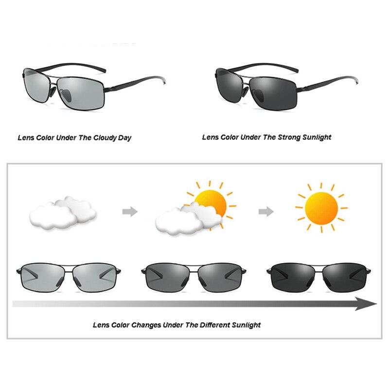 Aluminium Mens Polarized Photochromic Sunglasses Transition Lens Eyewear Glasses