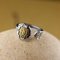 L P Thailand Buddha Golden Lotus Split Ring100 925 Sterling Silver Rings For Men Vintage Punk