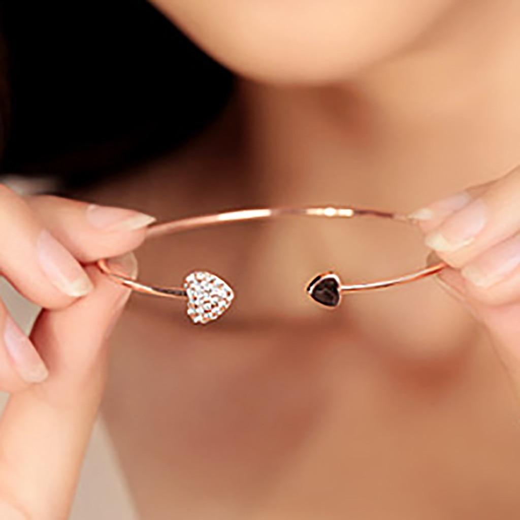 Love Bangle Open Adjustable Gold Color Rhinestone Heart Cuff Bracelet Crystal Cubic Zirconia Charm Women Fashion Jewelry shoulder bag