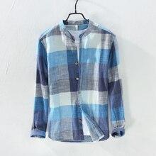 2018 Spring long sleeve retro linen shirt men brand fashion plaid shirt men casual cotton mens shirts camiseta masculina 3XL