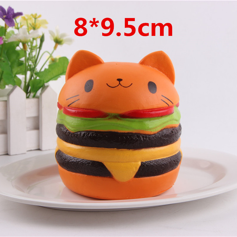 Squishy Cat гамбургер замедлить рост Kawaii Squishies squeeze снимает стресс хлеб детски ...