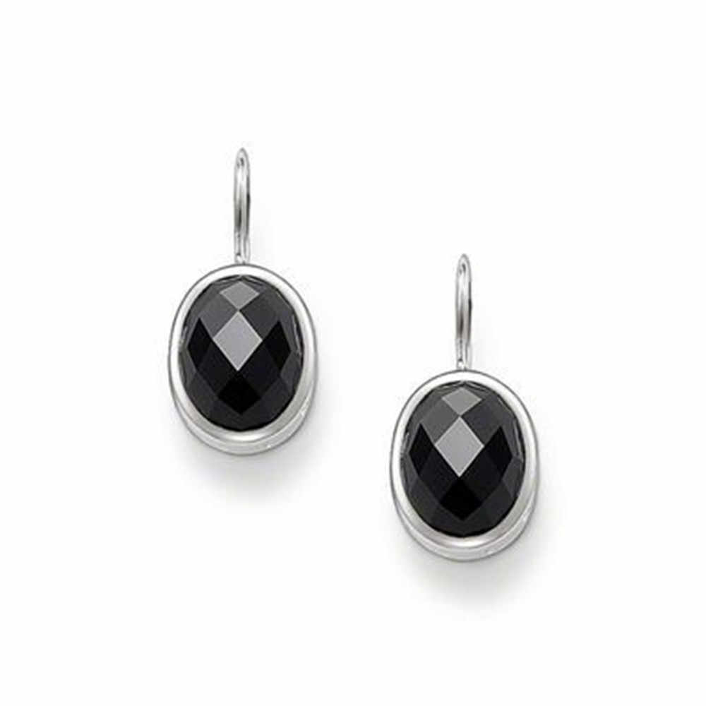 Silver Plated Oval Black Onyx Bevelled Drop Earrings, Most Fashion Glam Fashion Earring Jewelry Best Soul Gift Earings for Women