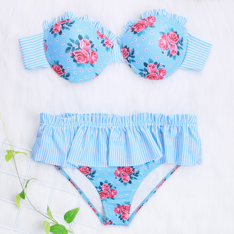 Zrtak Cup Bikinis 2018 Mujer Ruffled Swimsuit Female High Waist Biquinis Feminino Bathing Suit Women Swimwear Push Up Bikini SetZrtak Cup Bikinis 2018 Mujer Ruffled Swimsuit Female High Waist Biquinis Feminino Bathing Suit Women Swimwear Push Up Bikini Set