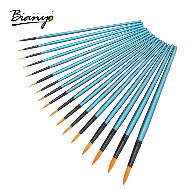 Bianyo 17Pcs Round Shape Nylon Hair Wood Long Handle Watercolor Brush Set For School Acrylic Painting Stationery Art Supplies