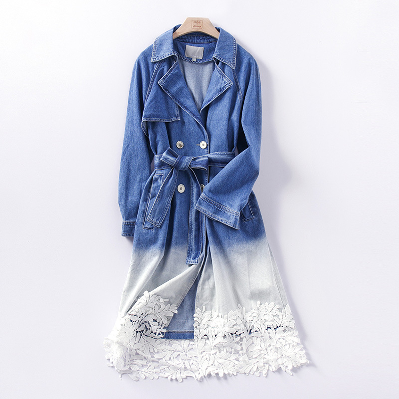 Gradual Color Denim   Trench   Coat Women Fashion Double-breasted Long Coats 2019 New Arrival Spring Bandage Women's Windbreaker