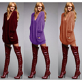 2016 autumn dress women ukraine vestidos v neck long sleeve loose sexy party club office evening mini shirt sweater dresses
