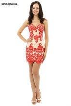 Sexy Mini Vaina Vestidos de Cóctel Elegante Vestido de Cóctel Corto Rojo Apliques Encima de La Rodilla Vestidos de Partido Muchachas de Las Mujeres Vestido de Verano