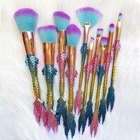 10PCS Mermaid Shape Makeup Brush Fish Scale Foundation Powder Eyeshadow Unicorn Makeup Brushes Contour Blending Cosmetic