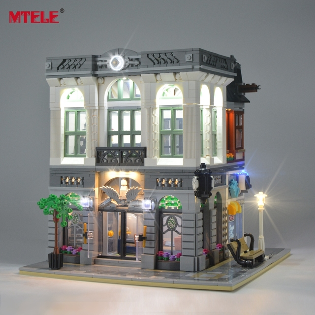 MTELE LED Light Up Kit For Creator Brick Green Bank Lighting Set Compatible With 10251 (Not Include Model)