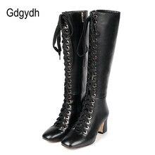 79d8dfb2 Gdgydh 2018 nueva moda cordón invierno rodilla alta botas mujer de tacón  alto suela de goma botas de cuero primavera otoño femen.