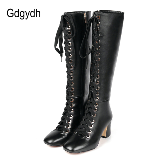 882f3b1ed1d Gdgydh 2018 New Fashion Lacing Winter Knee High Boots Women High Heel Woman  Rubber Sole Leather Boots Spring Autumn Female Shoes