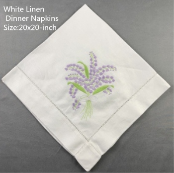 Set Of 12 Fshion Handkerchiefs White Linen Hemstitched Table Napkin 20x20-inch Ladder Embroidery Flower Dinner Napkins