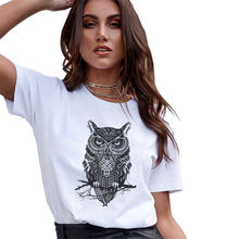 Spring Summer Vintage Harajuku T-shirt Women Animal Owl Print O-Neck Short Sleeve Tops Tshirt Femme Clothes Vogue Camiseta Mujer(China)
