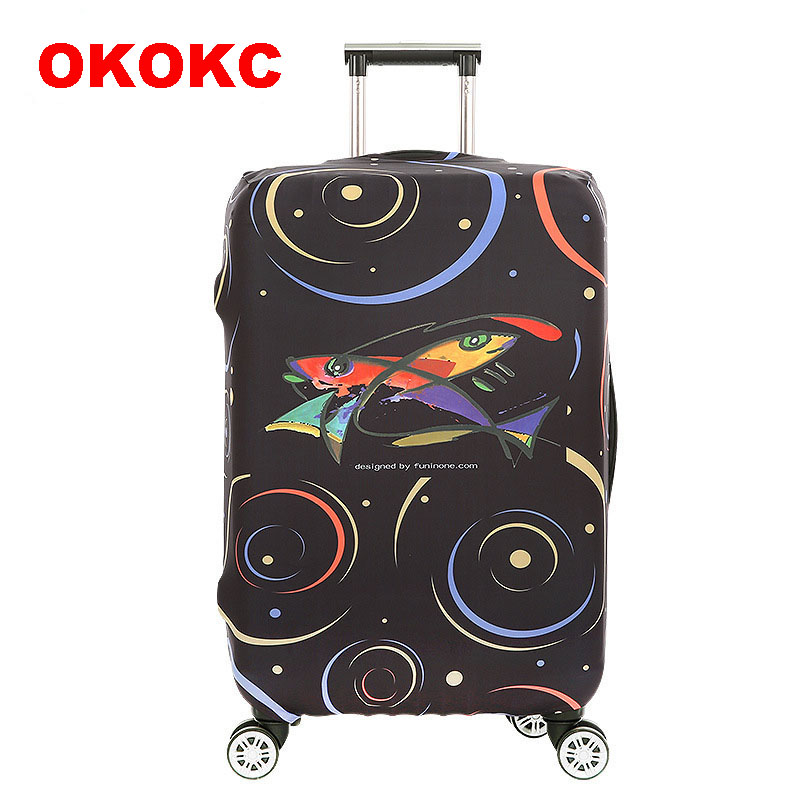 OKOKC Cartoon Fish Elastic Luggage Dust Cover Travel Accessories on Road Protective Thickest Suitcase Cover for 18-32inch