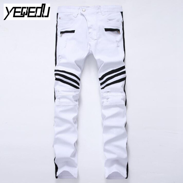 #2711 2017 Motorcycle Ripped White jeans men Biker Distressed Mens skinny jeans homme Famous brand men designer jeans Joggers