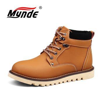 Mynde/мужские ботинки из натуральной кожи, ботильоны высокого качества, осенне-зимняя мужская обувь, теплые мужские зимние ботинки на меху, ра...