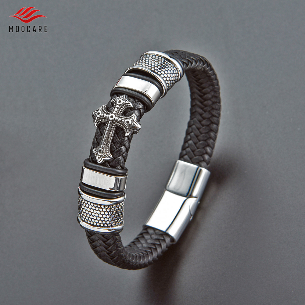 Home Gut Ausgebildete Moocare Klassische Handgemachte Leder Kette Gewebt Mann Charme Armbänder Trendy Magnet Verschluss 316l Edelstahl Armband Männer