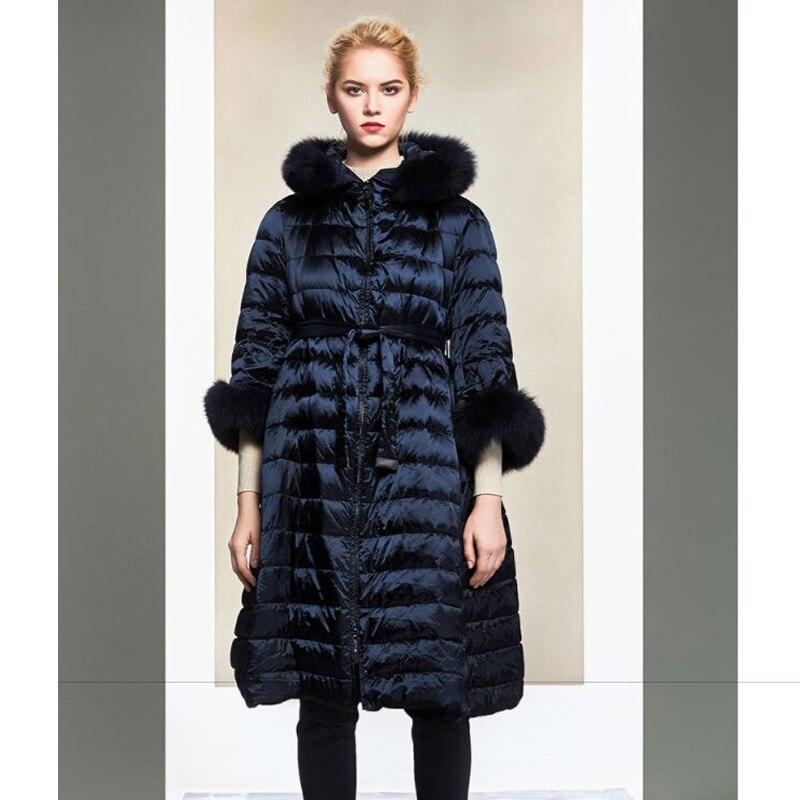 Real Natural Fur Collar 2018 New Winter Jacket Women White Duck Down Jacket Long Warm Coat Slim Snow Wear Light Parka Overcoat
