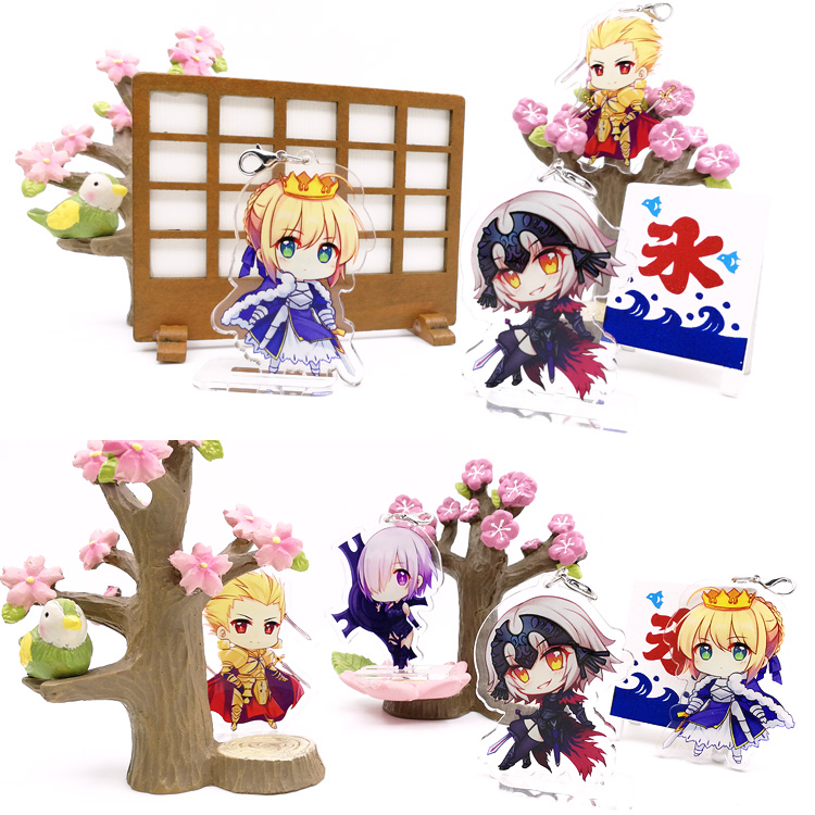 Anime Game FATE FGO Nero Saber Jeanne D'Arc Gilgamesh Cosplay Acrylic Stand Figure Keyring Pendant Charms Hanging Ornament Gift