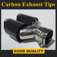 1 Pcs Y style Glossy Carbon + stainless steel universal carbon exhast tips, Dual Auto akrapovic exhaust tip tailtip end pipes