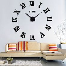 3D Wall Clock DIY Roman Numeral Metallic Mirror Stick-On Modern Timing Decor For Home Kitchen Living Room Bedroom