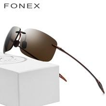 ae0bb5df5bf FONEX Ultem TR90 Rimless Sunglasses Men Ultralight 2018 Square Frameless